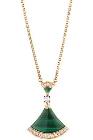 BVLGARI Divina 18K Yellow Gold, Malachite & Diamond Pendant Necklace
