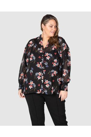 Love Your Wardrobe Lilly Shirred Boho Blouse - Shirts & Polos (Dark Floral) Lilly Shirred Boho Blouse