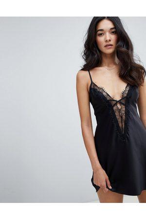 Ann Summers Cherryann lace trim satin chemise in black
