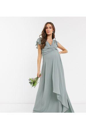 TFNC Bridesmaid flutter sleeve ruffle detail maxi dress in -Green