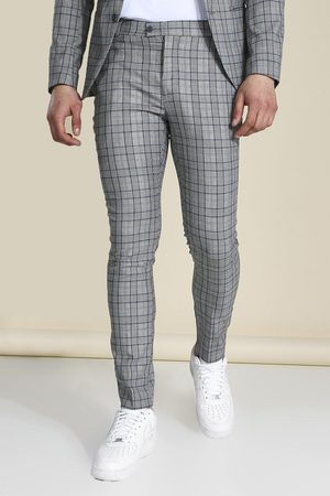 Boohoo Mens Super Skinny Check Suit Trousers