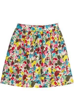 Caramel Flounder floral silk skirt
