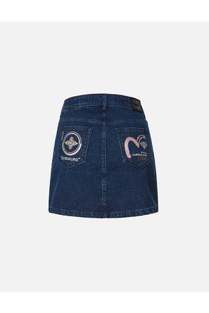 Evisu Women Denim Skirts - Kamon and Seagull Embroidered Denim Skirt