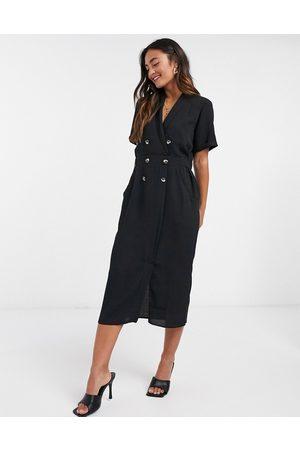 ASOS DESIGN Casual tux midi dress in black