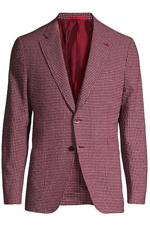 ISAIA Seersucker Wool, Linen & Silk-Blend Check Jacket