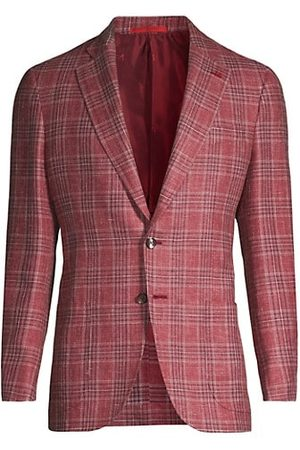 ISAIA Check Wool & Linen-Blend Jacket