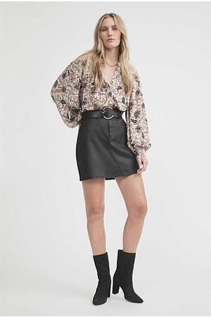 WITCHERY Coated Denim Skirt