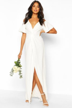Boohoo Bridesmaid Occasion Sequin Knot Front Maxi Dress- Ivory