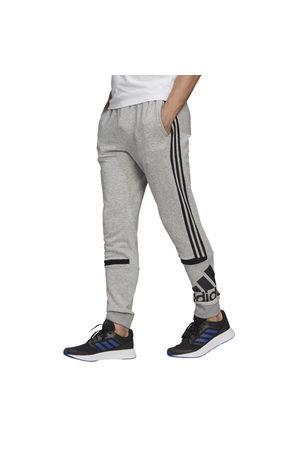 adidas Essentials Logo Colourblock Cuff Mens Trackpants - Medium Heather