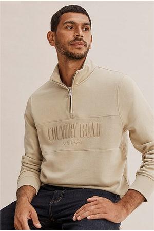 COUNTRY ROAD Men Sweatshirts - Verified Australian Cotton Half Zip Heritage Sweat - Sand