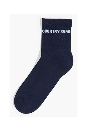 COUNTRY ROAD Branded Quarter Crew Sock - Navy