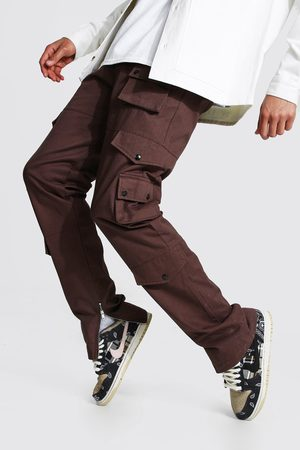 Boohoo Mens Chocolate Tall Relaxed Fit Twill Cargo Trouser