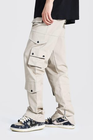 Boohoo Mens Ecru Tall Relaxed Fit Twill Cargo Trouser