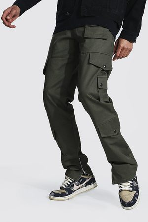 Boohoo Mens Khaki Tall Fixed Relaxed Fit Twill Cargo trousers