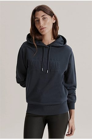 COUNTRY ROAD Women Sweatshirts - Verified Australian Cotton Hooded Heritage Sweat - Navy