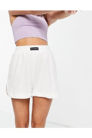 Public Desire Towelling pyjama shorts co-ord in off white