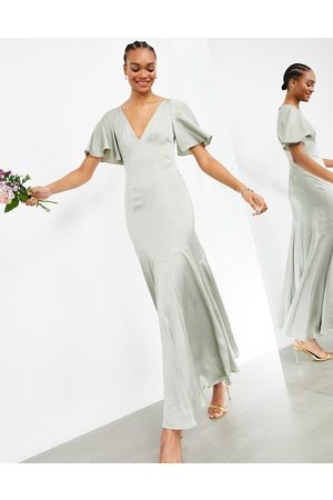 ASOS Satin maxi dress with flutter sleeve in sage green
