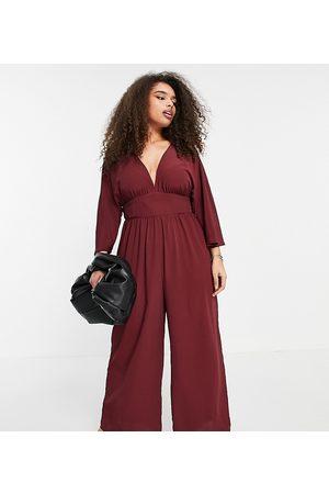 ASOS ASOS DESIGN Curve kimono sleeve culotte jumpsuit in burgundy-Red
