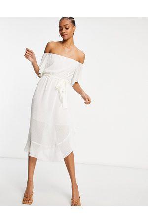 River Island Bardot maxi dress in white