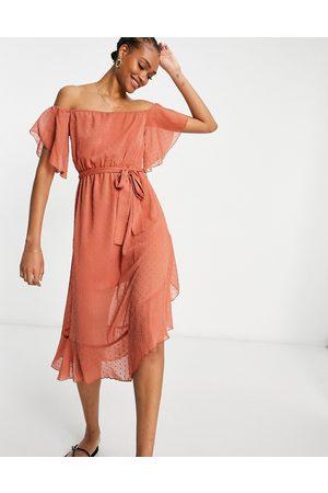 River Island Bardot maxi dress in rust-Red