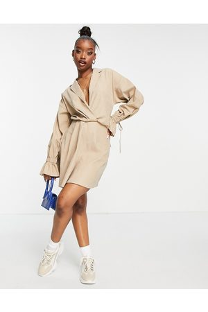 ASOS Blouson sleeve mini shirt skater dress with extreme cuffs in beige-Neutral
