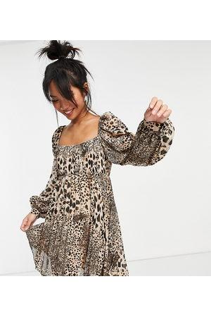 ASOS ASOS DESIGN Petite square neck pleated mini skater dress in natural leopard-Multi