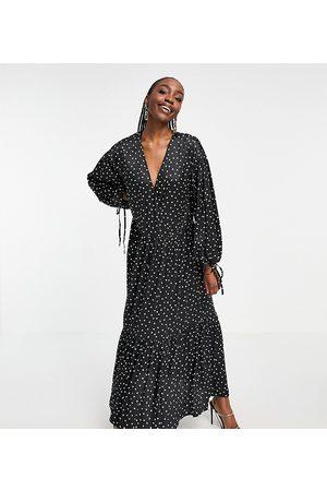 ASOS ASOS DESIGN Tall satin wrap-front smock maxi dress in mono spot-Multi