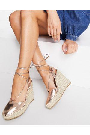 ASOS Tammy tie leg espadrille wedges in rose gold