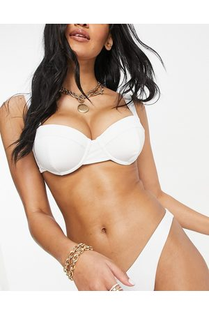 ASOS Fuller Bust recycled mix and match underwired balconette bikini top in white