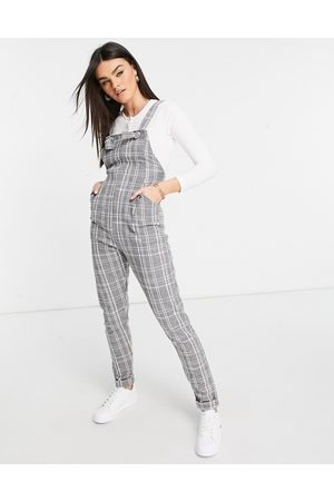ASOS Jersey casual overalls in grey check boucle-Multi
