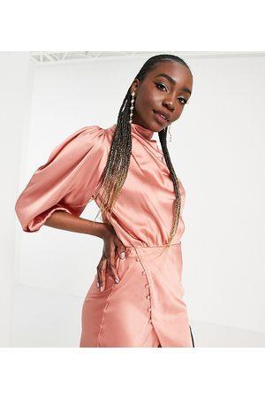 ASOS ASOS DESIGN Tall pleat cowl neck satin midi tea dress with puffed sleeve in dusky rose-Pink