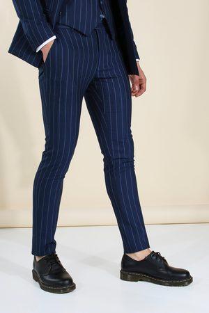 Boohoo Men Formal Pants - Mens Skinny Navy Pinstripe Suit Trousers
