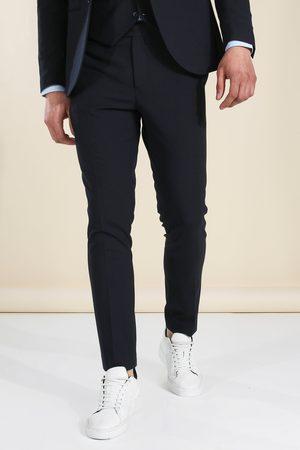Boohooman Mens Skinny Dark Navy Suit Trousers