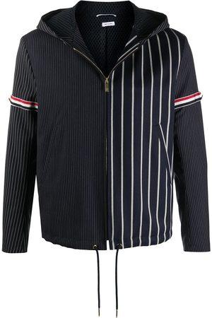 Thom Browne Men Outdoor Jackets - Striped asymmetric jacket