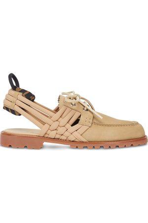 Fendi Woven-trim boat shoes