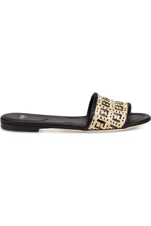 Fendi Women Flat Shoes - FF woven slip-on sandals