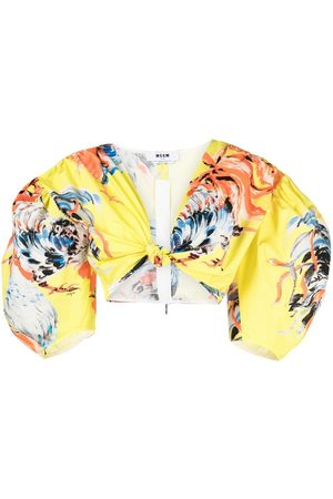 Msgm Rooster-print cropped blouse