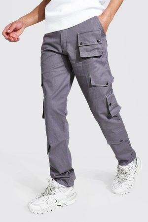 Boohooman Men Cargo Pants - Mens Slate Tall Relaxed Fit Twill Cargo Trouser