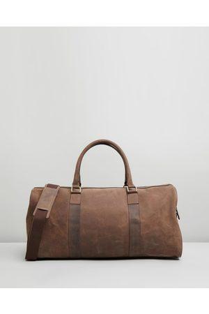 Double Oak Mills Men Travel Bags - Teddy Leather Weekender - Duffle Bags Teddy Leather Weekender