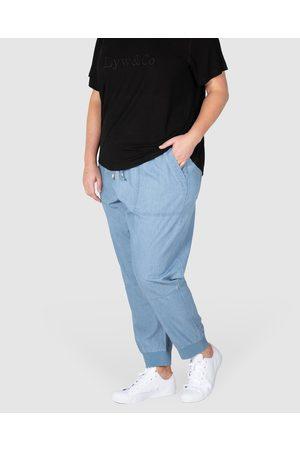 Love Your Wardrobe Rebecca Rib Trim Chambray Pant - Cargo Pants (Indigo ) Rebecca Rib Trim Chambray Pant