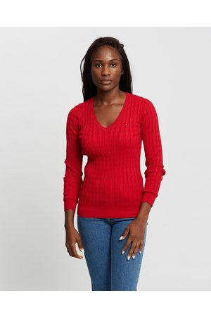 Tommy Hilfiger Classic Cable Knit V Neck Sweater - Jumpers & Cardigans Classic Cable Knit V-Neck Sweater
