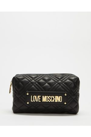 Love Moschino Quilted Cosmetic Bag - Toiletry Bags (Nero) Quilted Cosmetic Bag
