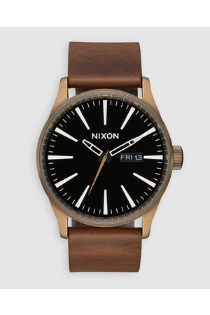 Nixon Sentry Leather Watch - Watches (Brass, & ) Sentry Leather Watch