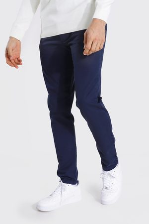 Boohooman Mens Navy Tall Slim Fit Chino Trouser