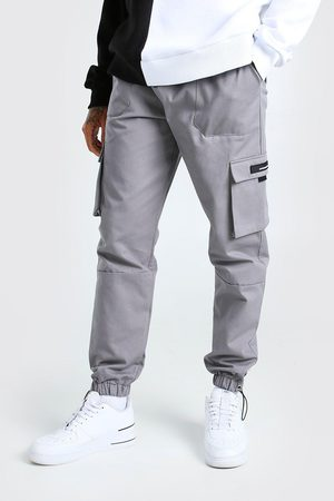 Boohoo Mens Slate Twill Cargo Trouser With Rubber Tab Detail