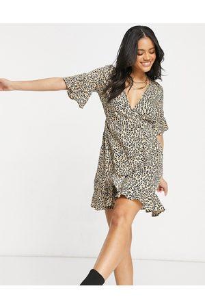 Ax Paris Ruffle wrap mini dress in leopard-Multi