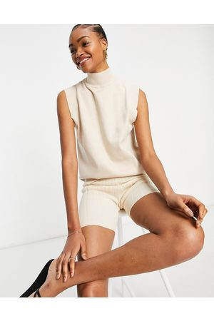 Fashion Union Knitted roll-neck tank top with detail shoulders-White