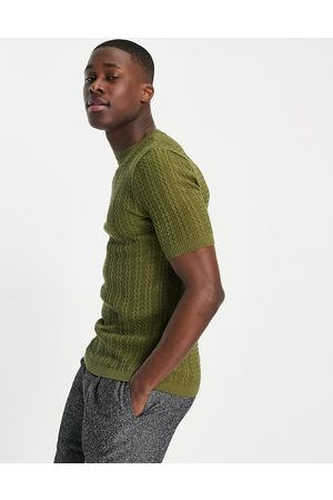 ASOS Muscle fit cable knit t-shirt in khaki-Green
