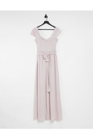 TFNC Bridesmaid drape shoulder asymmetric maxi dress in mink-Pink