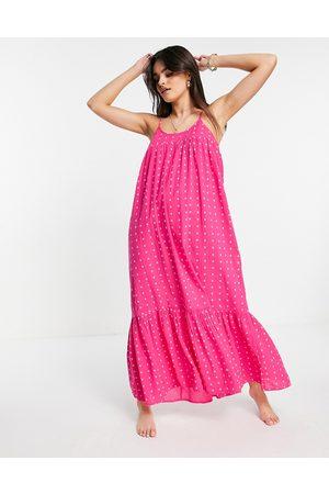 Accessorize High-neck beach maxi dress in pink